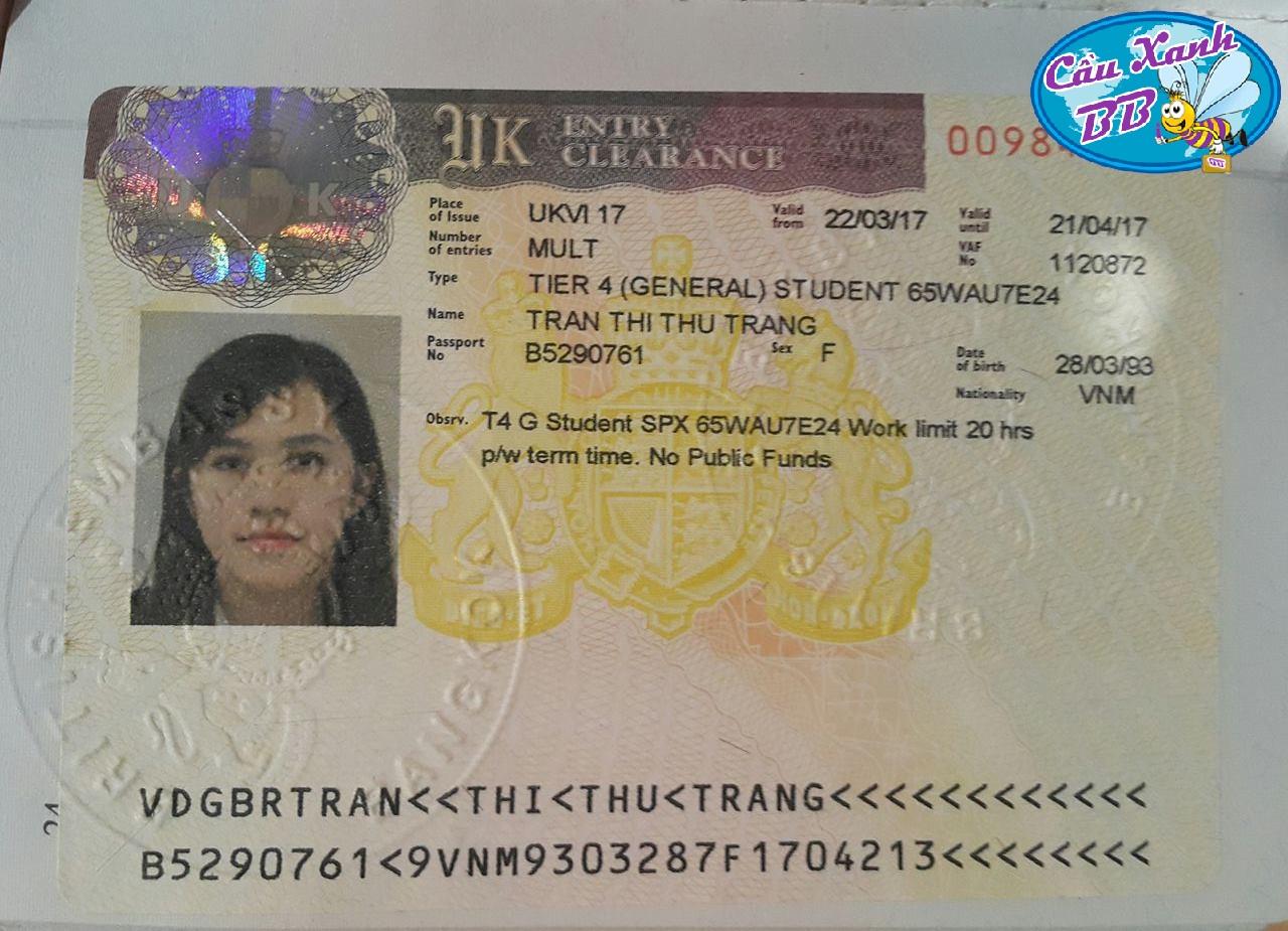 Trần Thị Thu Trang, Đạt visa du học Anh, khoá thạc sỹ Quản trị và kinh doanh quốc tế, trường De Montfort University